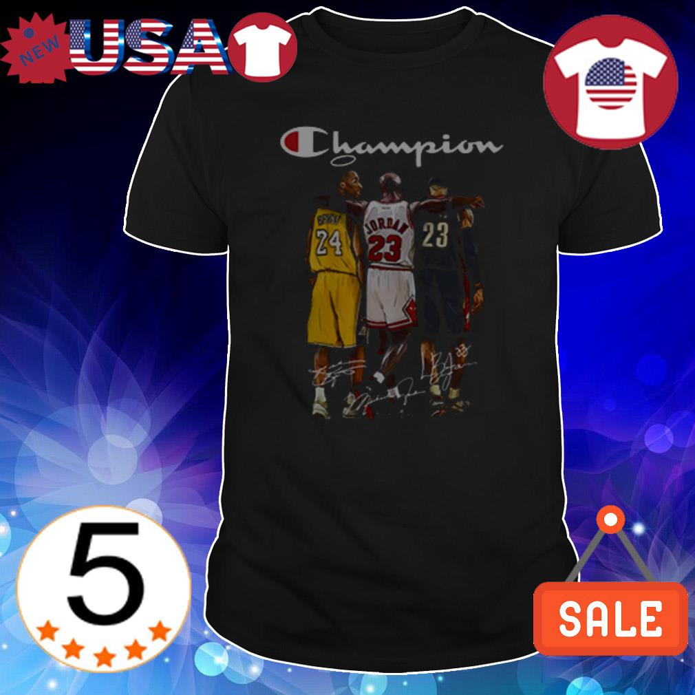 Kobe Bryant Michael Jordan Lebron James Champion signatures shirt