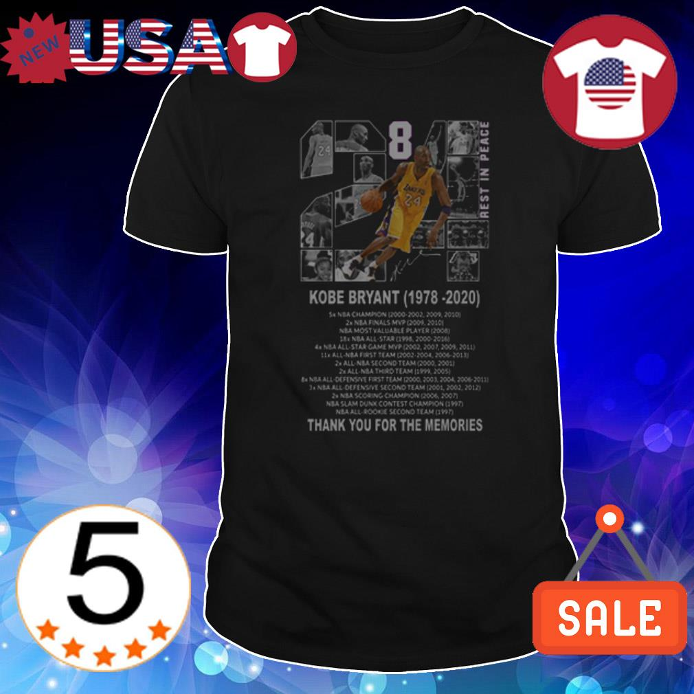 Kobe Bryant Rest In Peace 1978 2020 thank you for the memories signature shirt