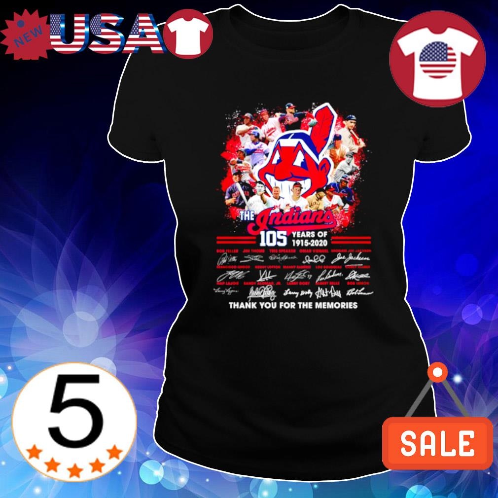 105 years of The Indians 1915 2020 thank you for the memories signature s Ladies Tee-Black