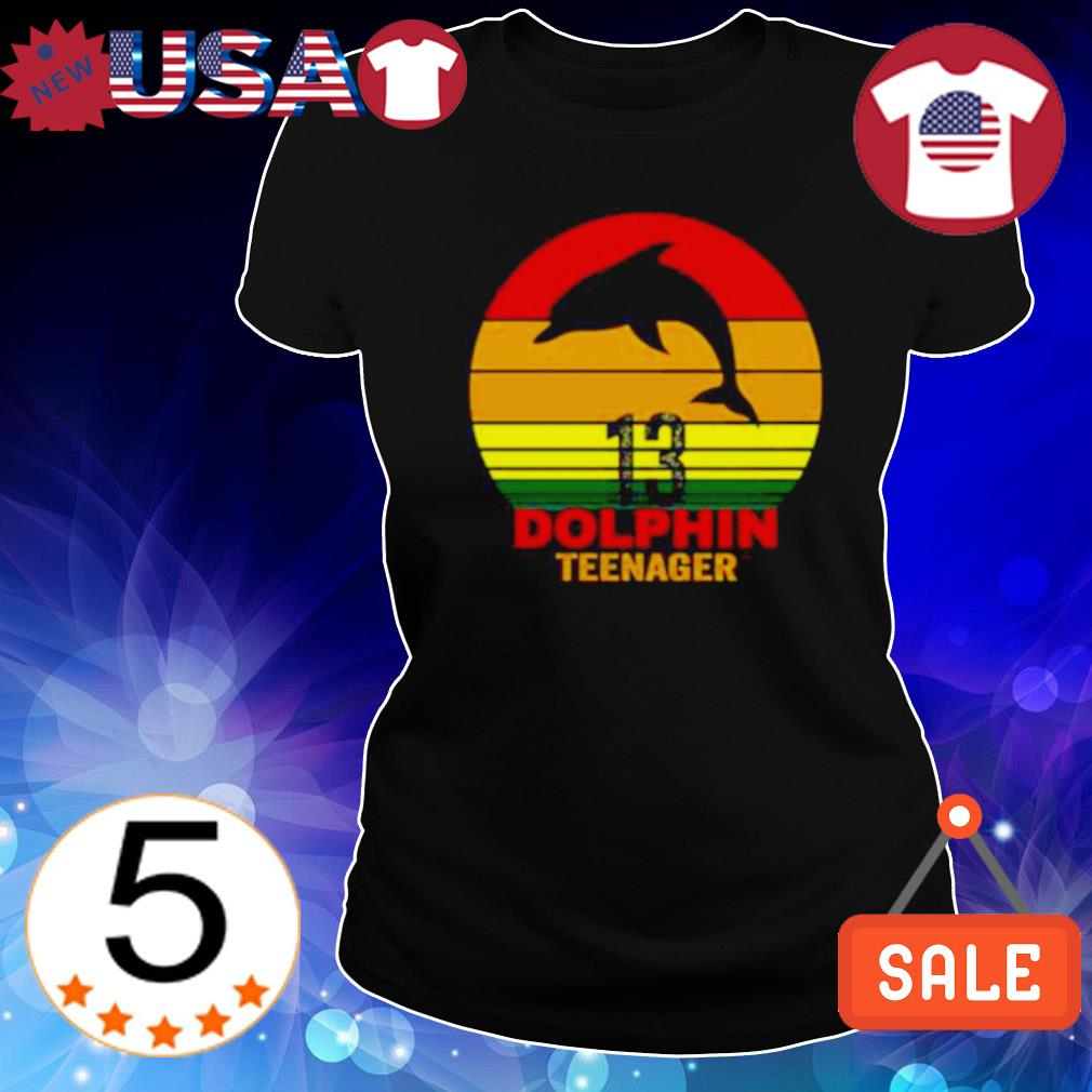 13 Dolphin teenager vintage s Ladies Tee-Black