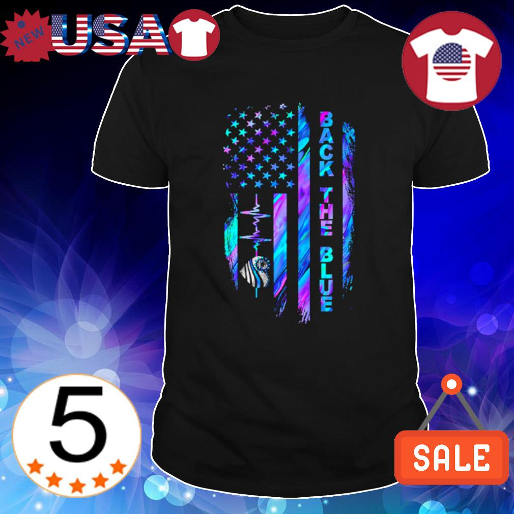Heartbeat Thin Line Blue American flag back the blue shirt