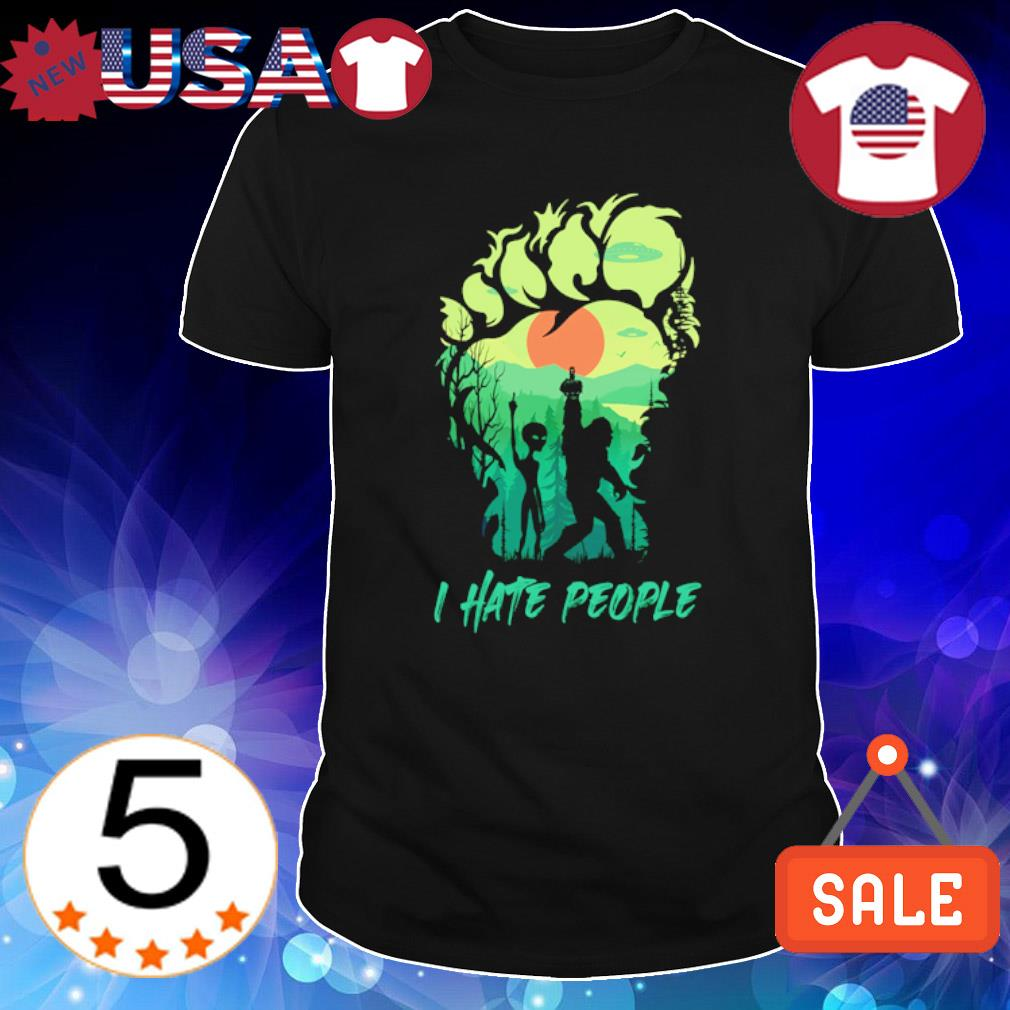 Bigfoot alien middle finger I hate people shirt