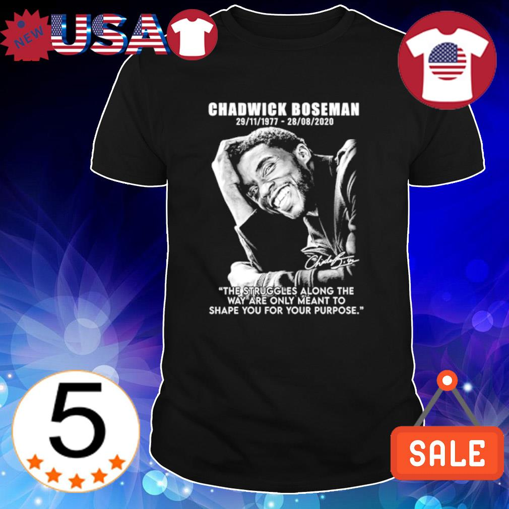 Chadwick Boseman 1977 2020 the struggles along the way are only meant to shape you shirt