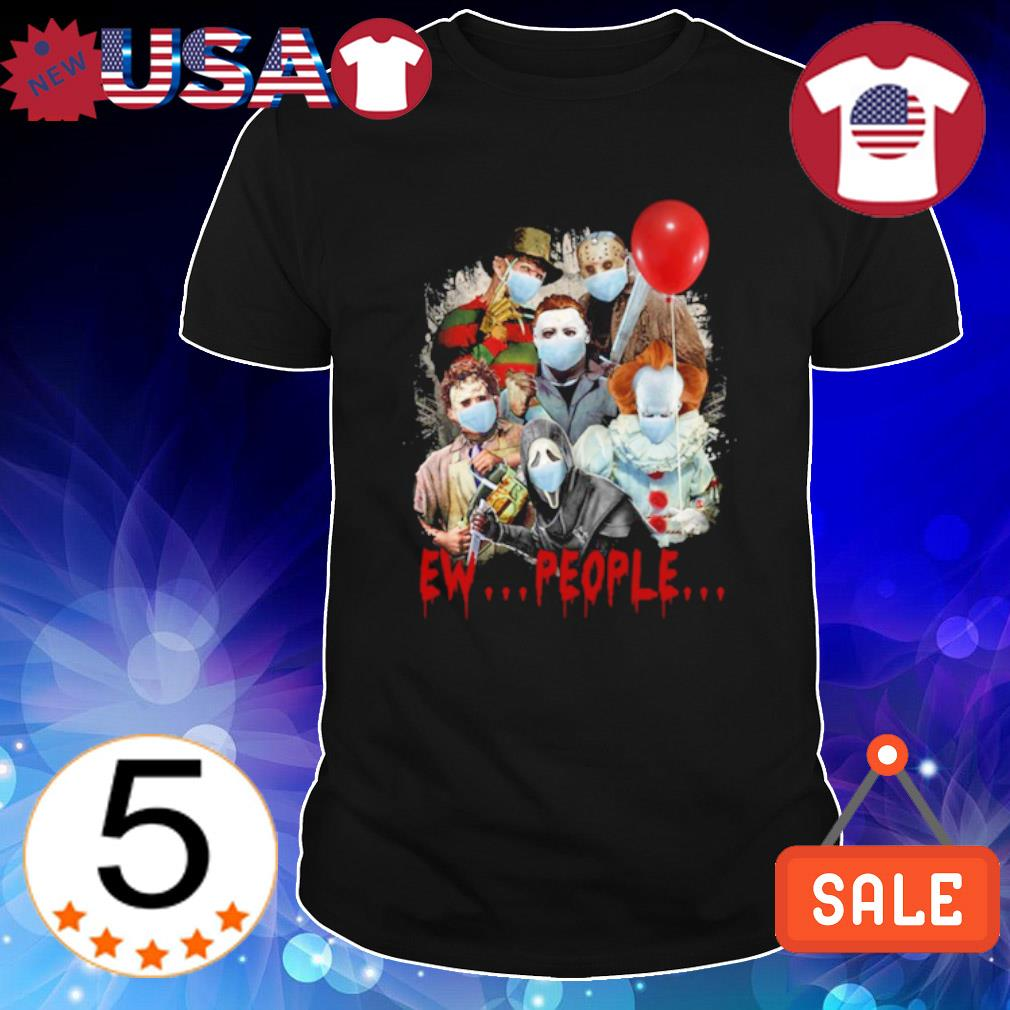 Horror characters face mask Halloween ew people shirt