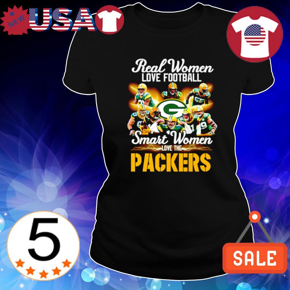 Real women love football smart women love the Packers s Ladies Tee-Black