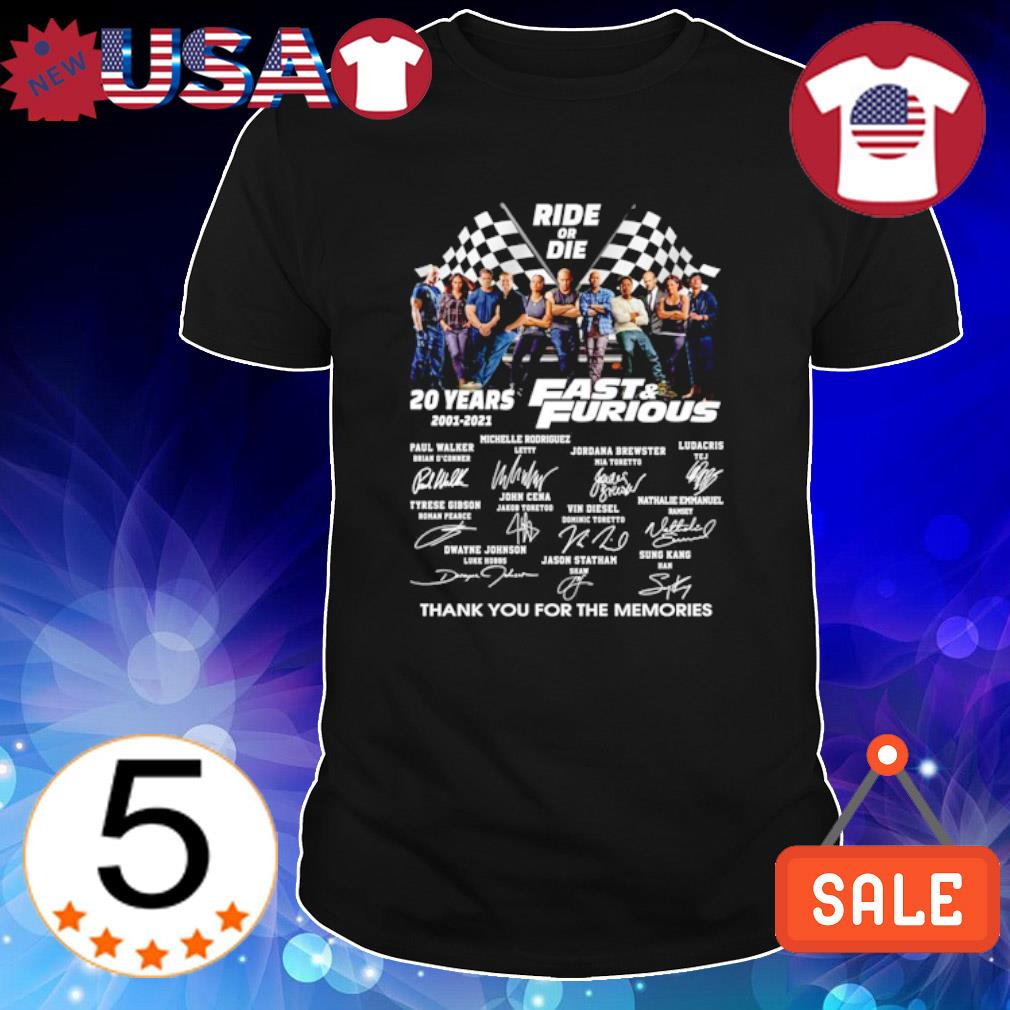 Ride or die 20 years Fast and Furious thank you for the memories shirt