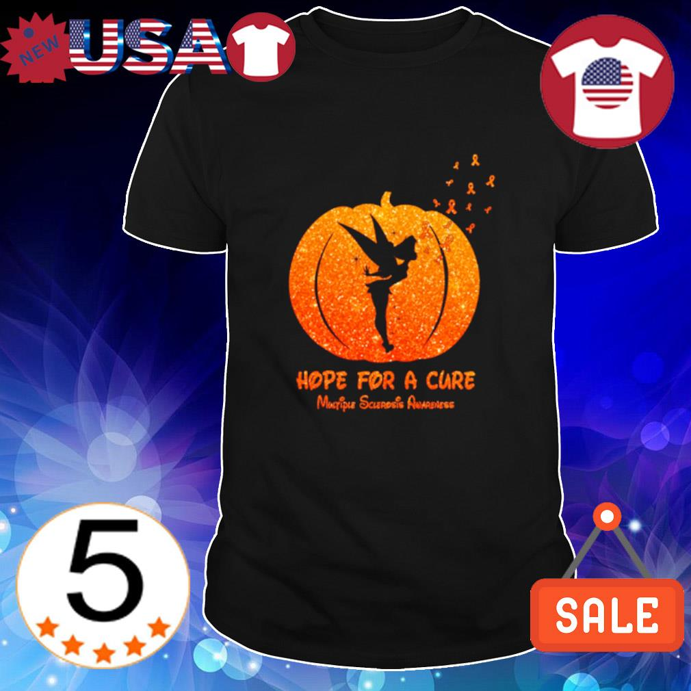 TInkerbell pumpkin hope for a cure Multiple Sclerosis Awareness shirt