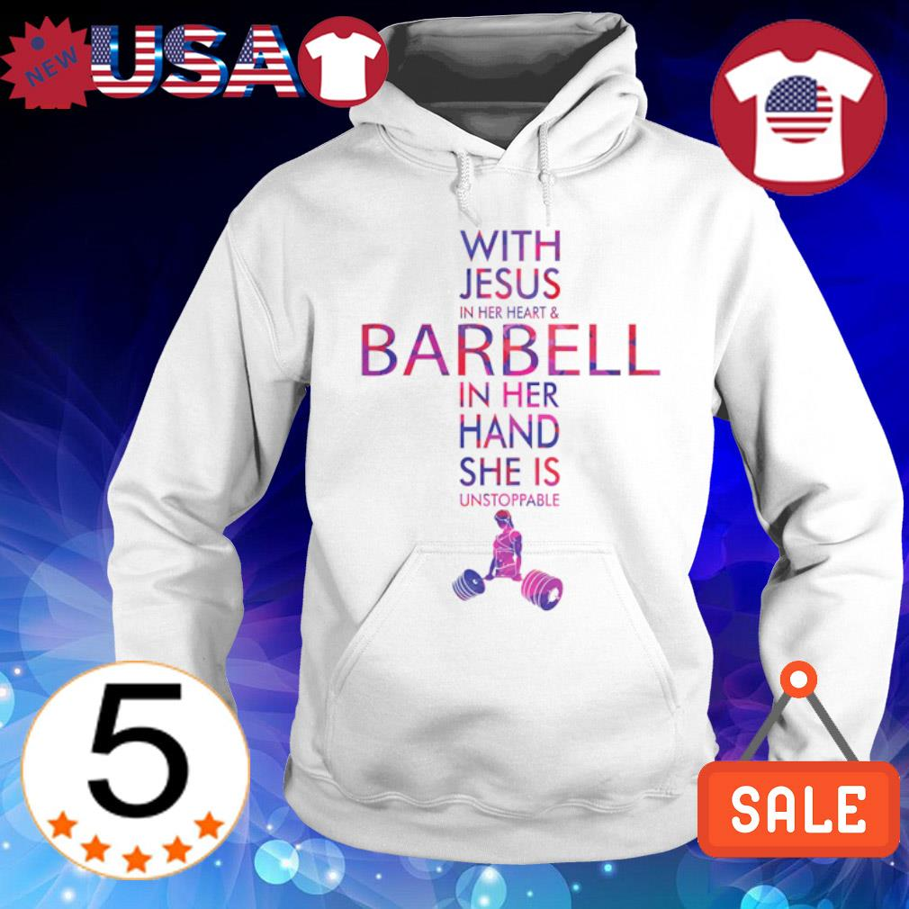 With Jesus in her heart and barbell in her hand s Hoodie White