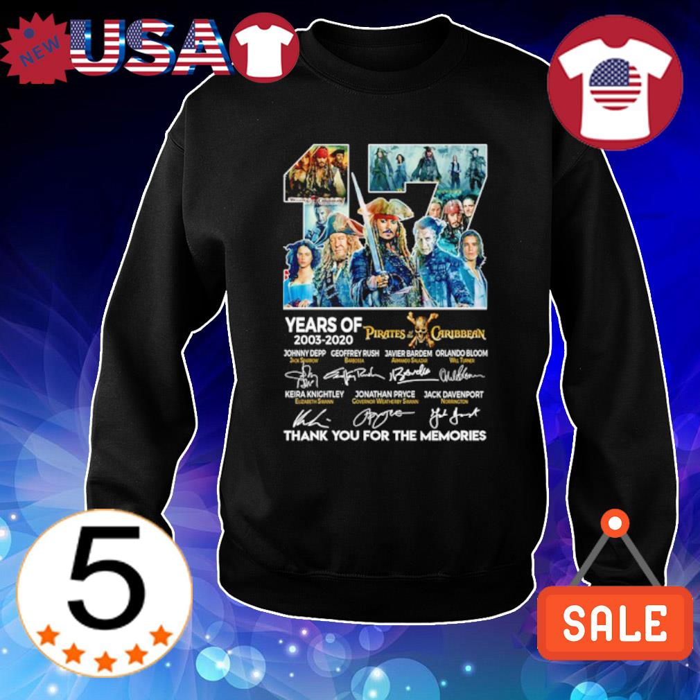 17 years of Pirates Caribbean 2003 2020 thank you for the memories s Sweater Black