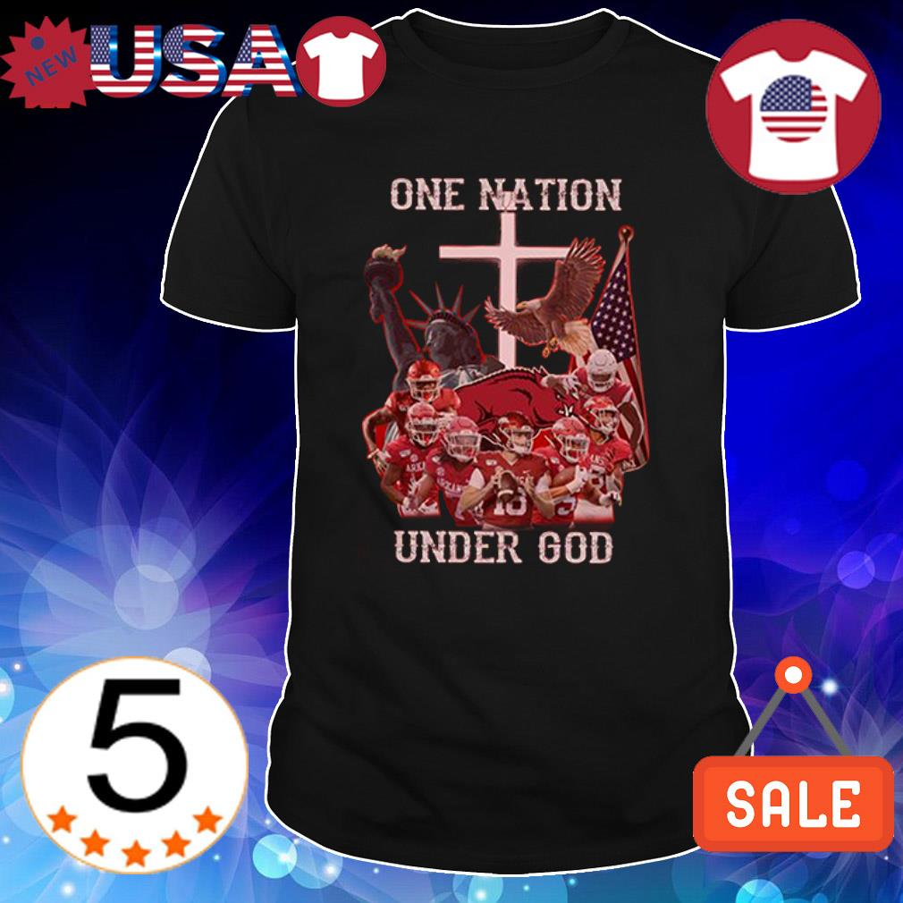 Arkansas Razorbacks one nation under God American flag shirt