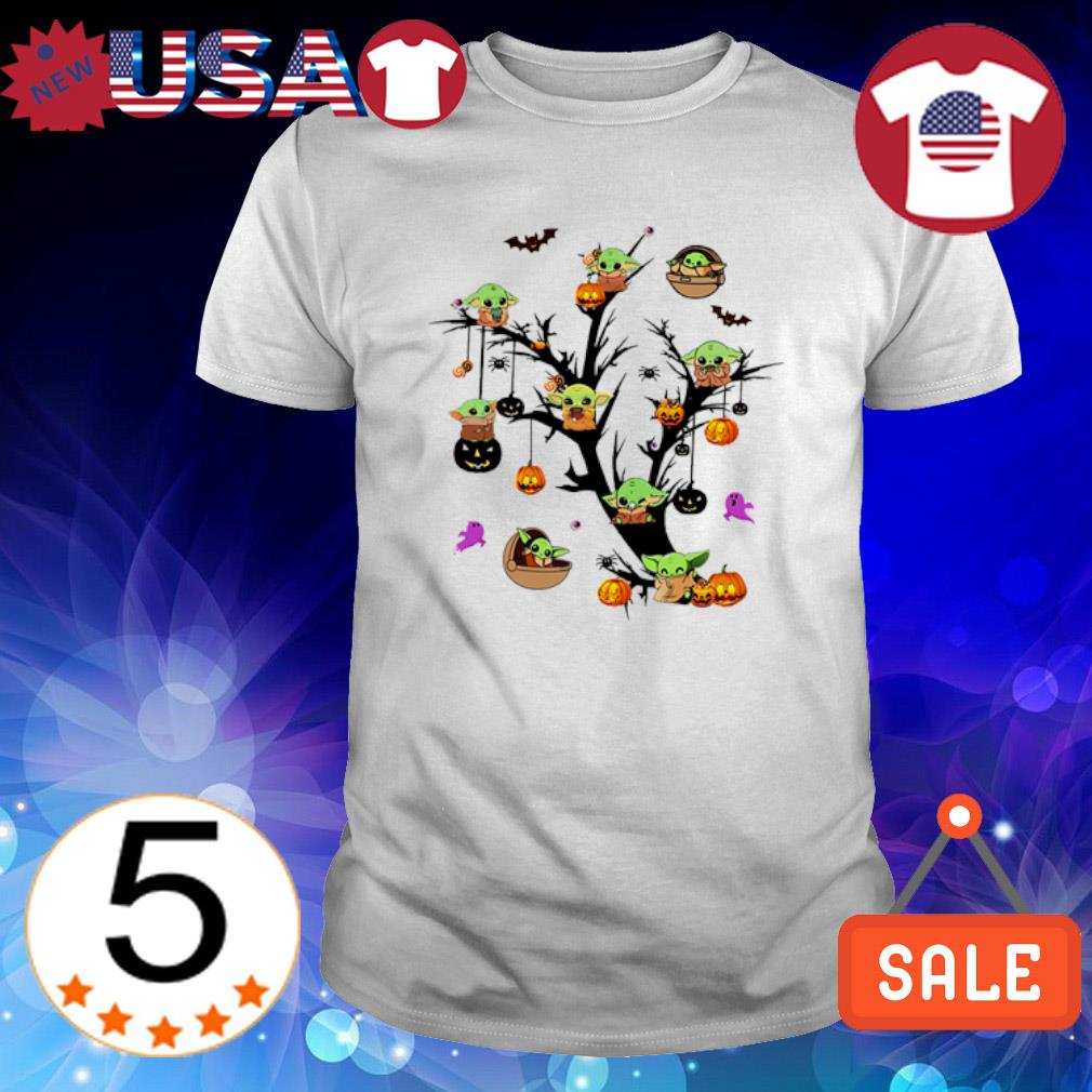Baby Yoda pumpkin in the Halloween tree shirt