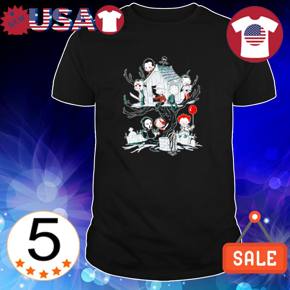 Horror movie chibi love nightmare on the Halloween tree shirt