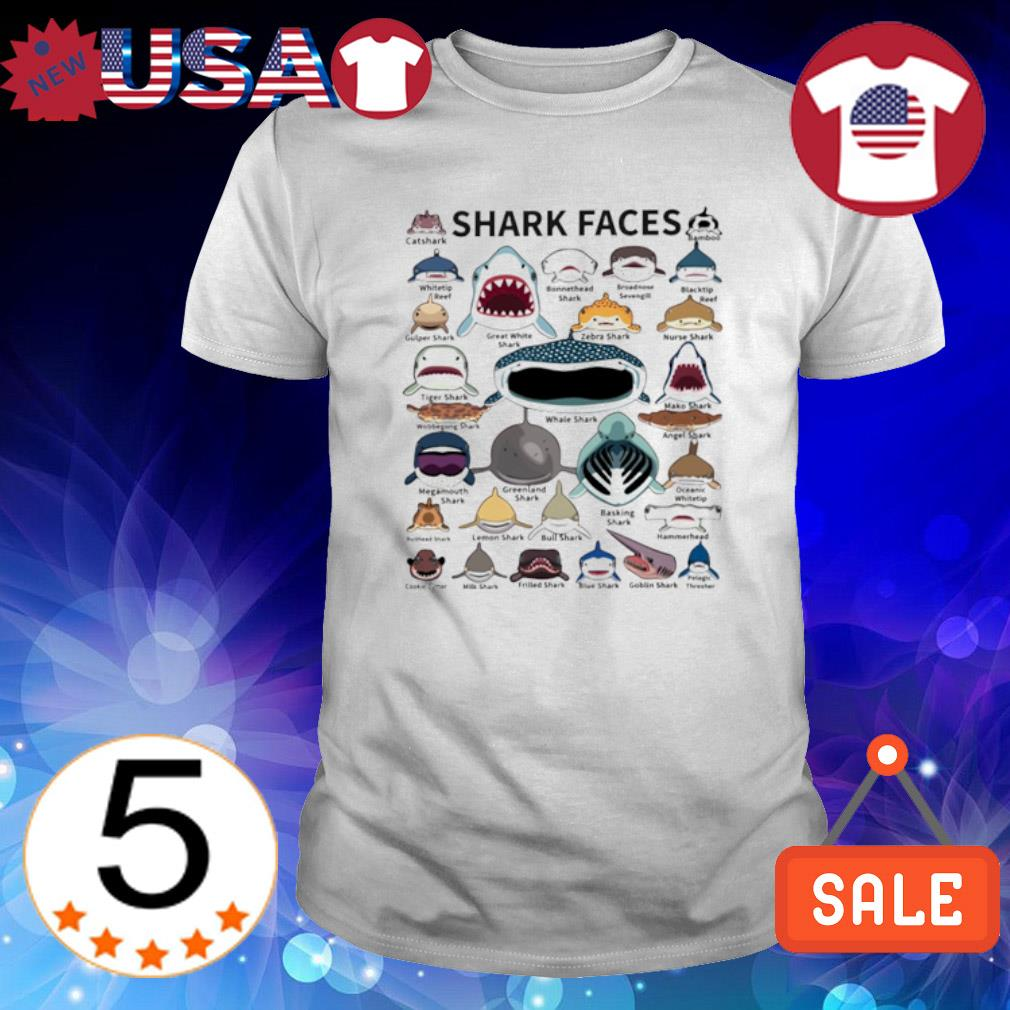 Love all shark faces shirt
