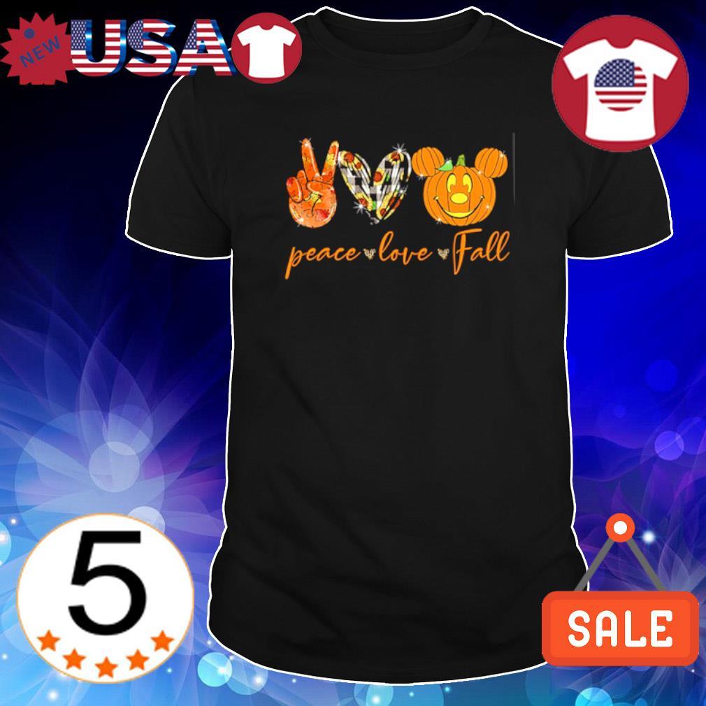 MIckey mouse Pumpkin Peace love fall Halloween shirt