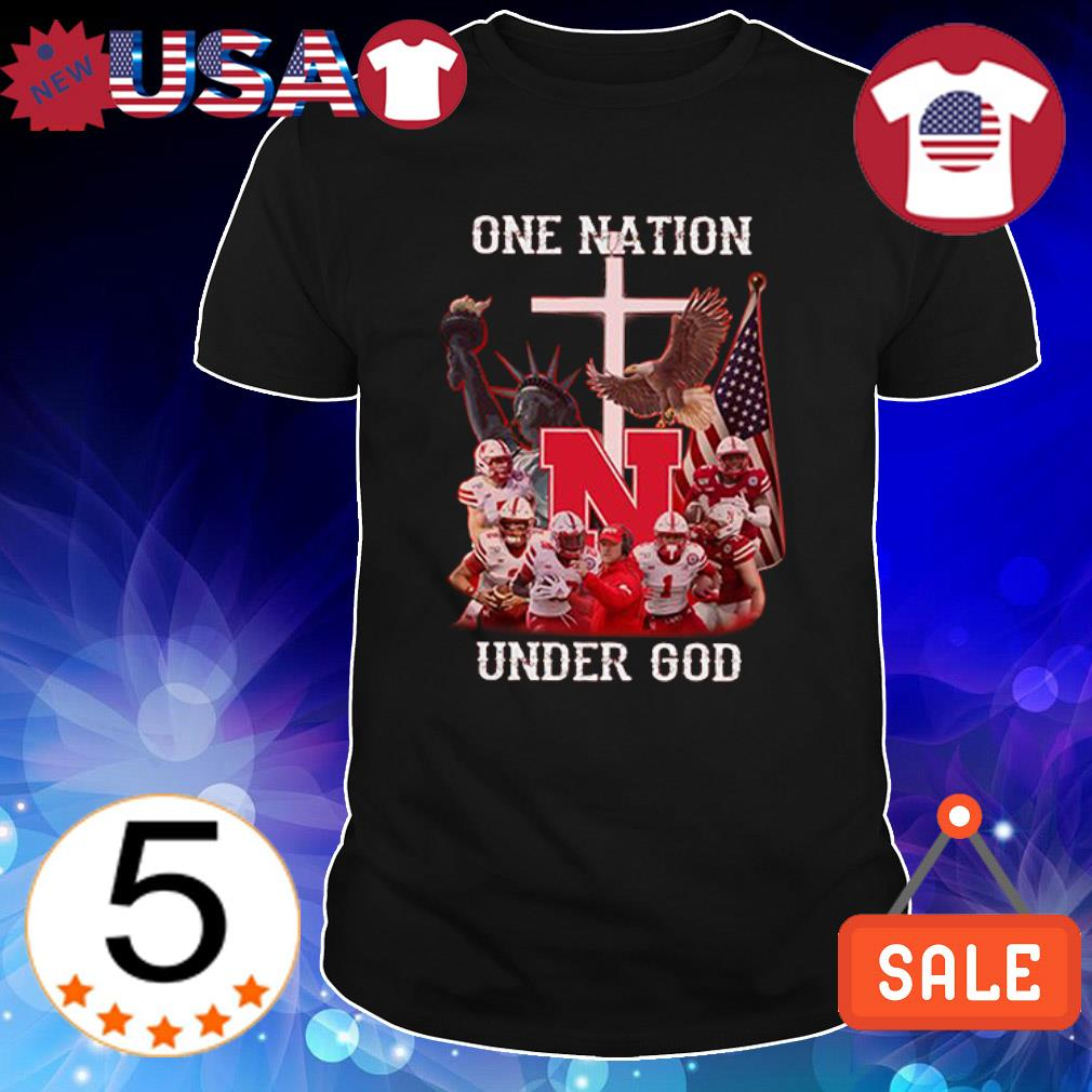 Nebraska Cornhuskers one nation under God American flag shirt