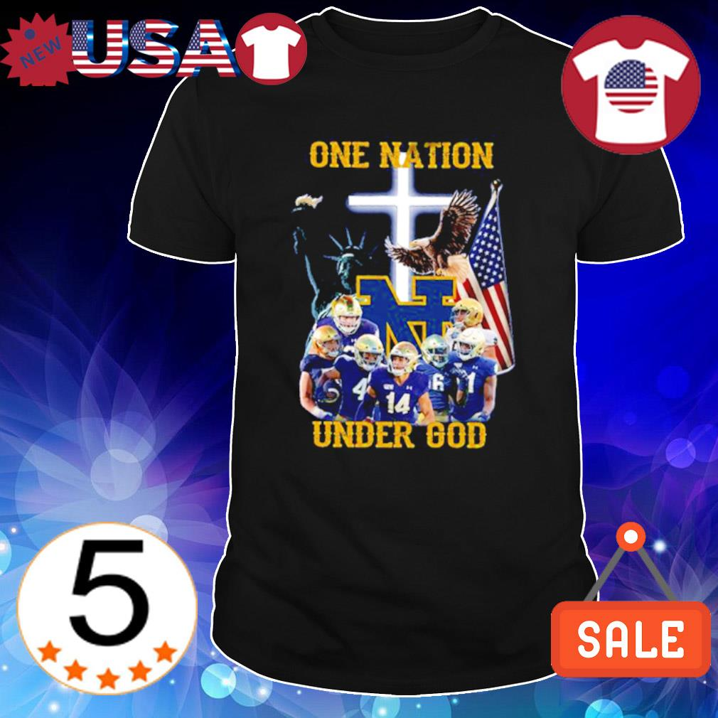 Notre Dame Fighting Irish one nation under God American flag shirt