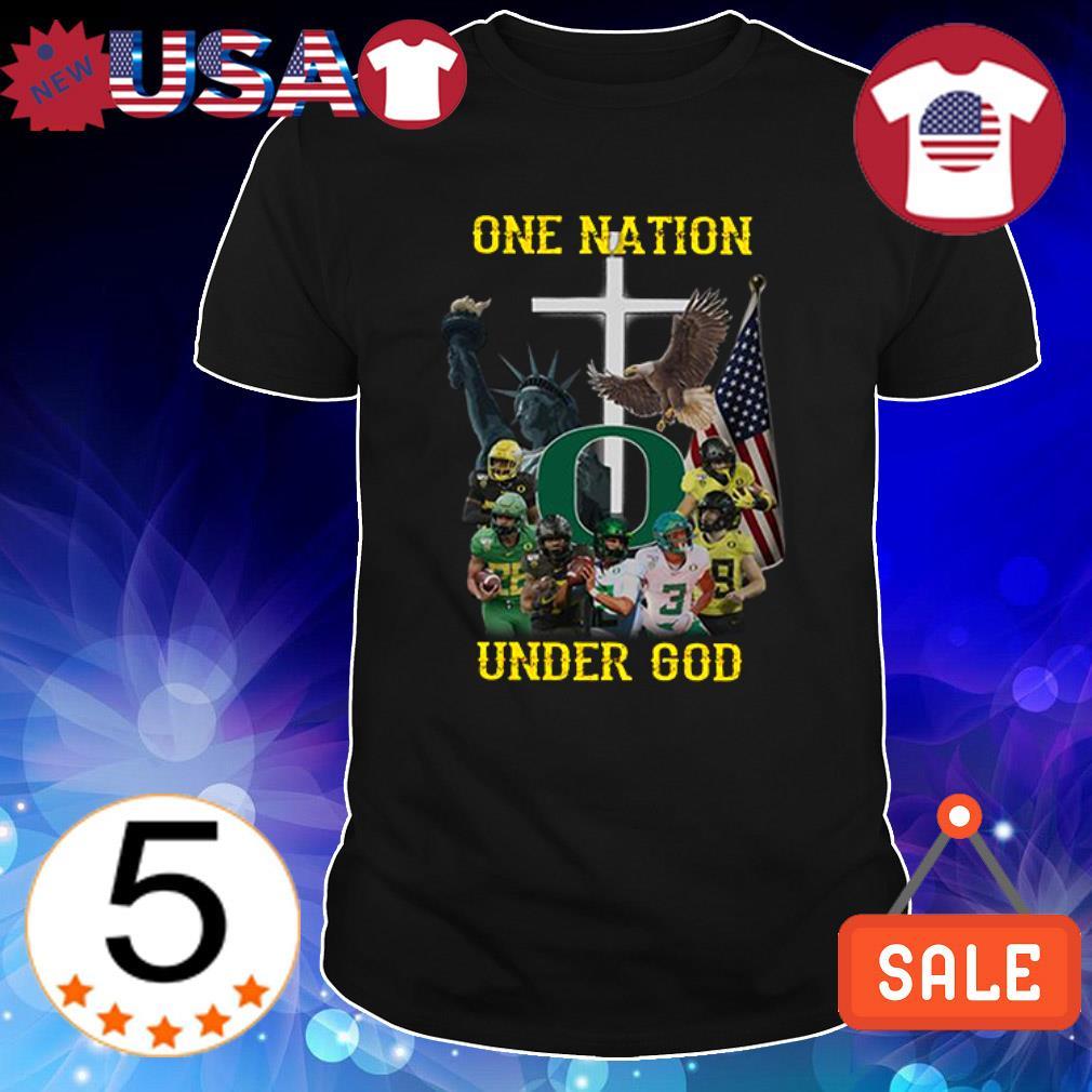 Oregon Ducks one nation under God American flag shirt