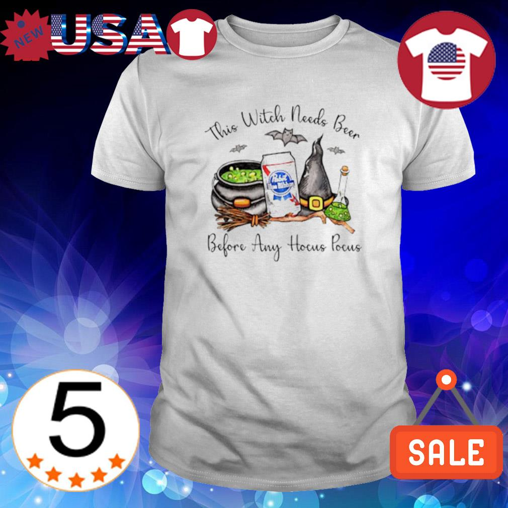 Pabst Blue Ribbon This witch needs beer before any Hocus Pocus shirt