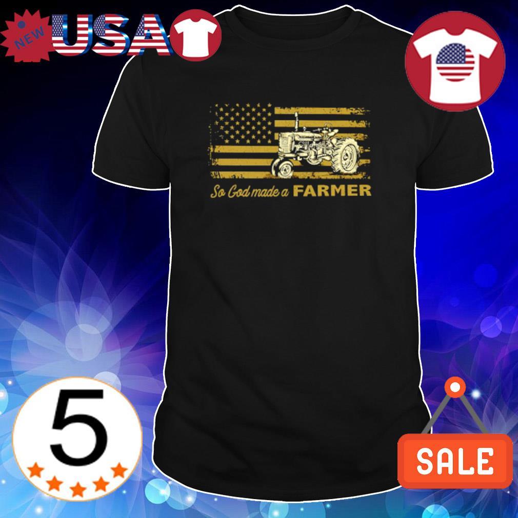American flag tractor so God made a farmer shirt