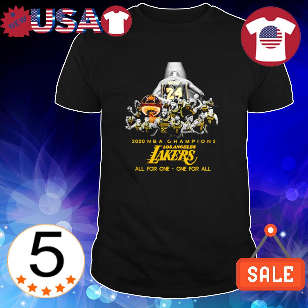 Kobe Brytant 2020 NBA champions Los Angeles Lakers all for one one for all shirt