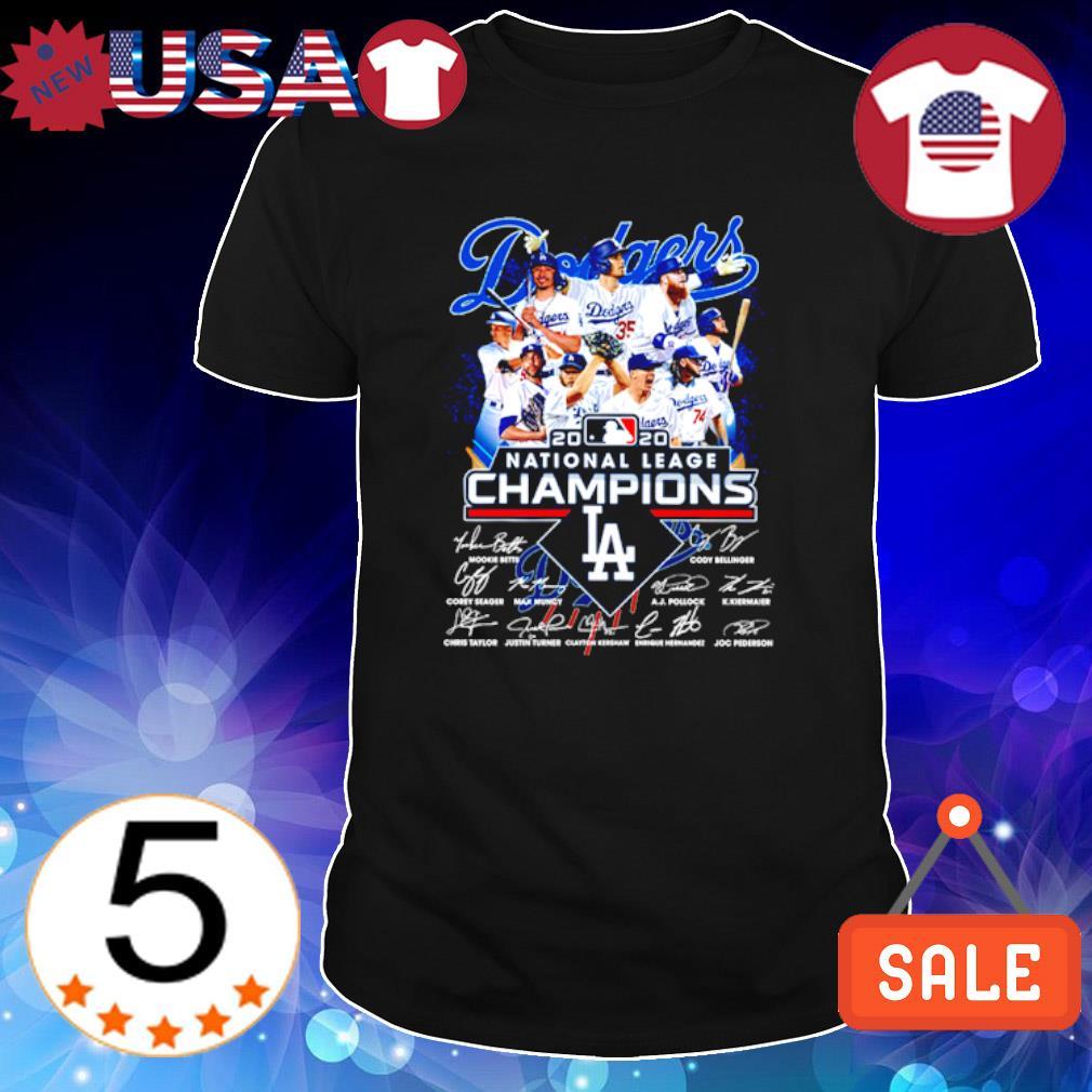 Los Angeles Dodgers 2020 national league champions members signature shirt
