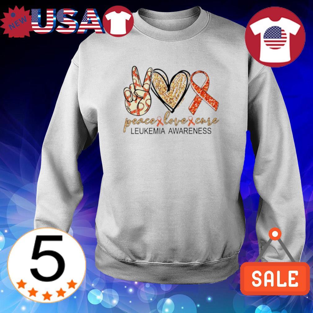 Peace love cure Leukemia Awareness s Sweater White