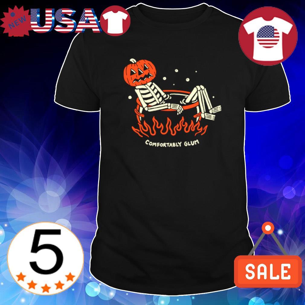 Skeleton pumpkin comfortably glum shirt
