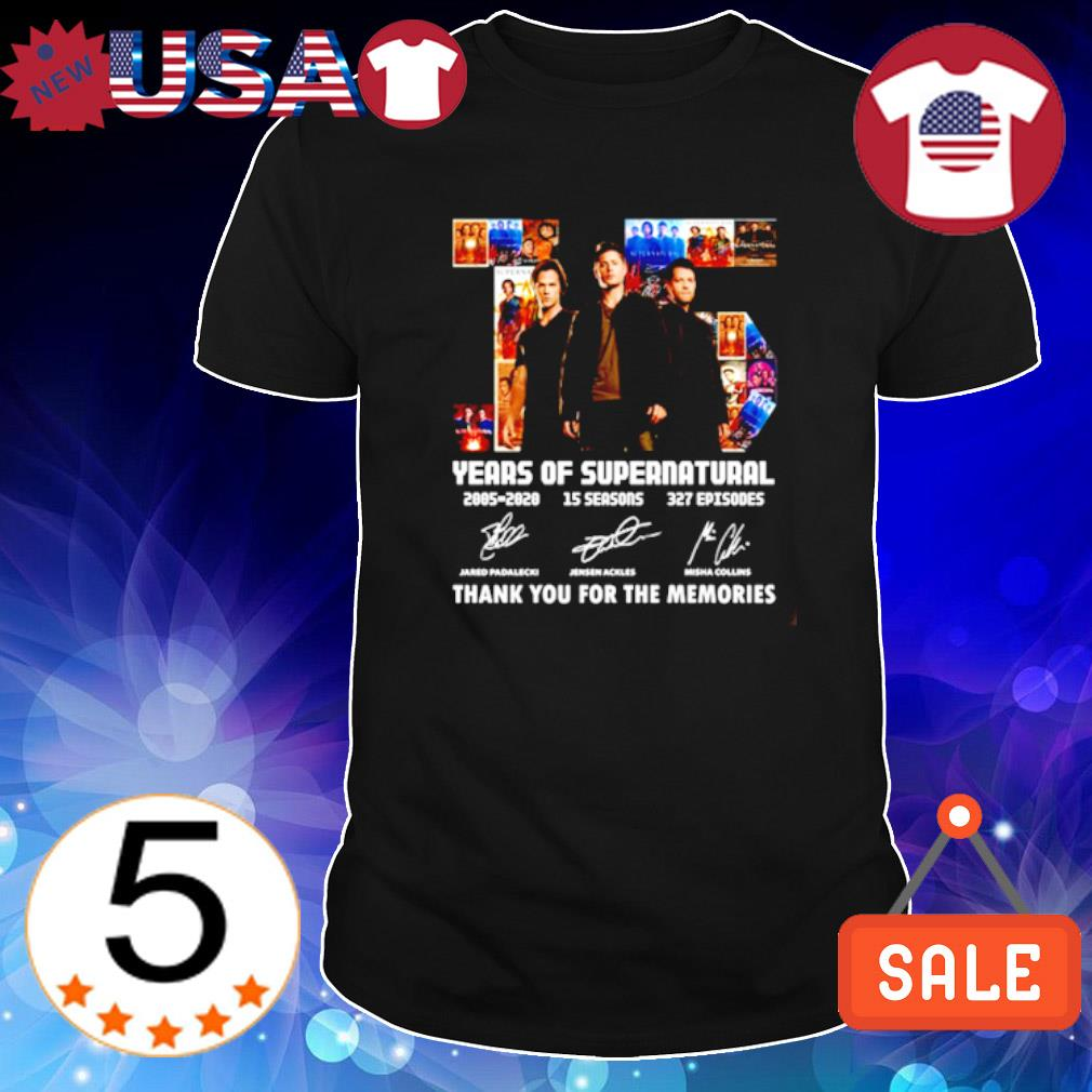 15 years of Supernatural 2005 2020 thank you for the memories signature shirt
