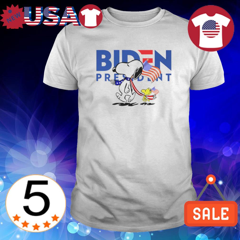 American flag Snoopy and Woodstock vote Biden president shirt