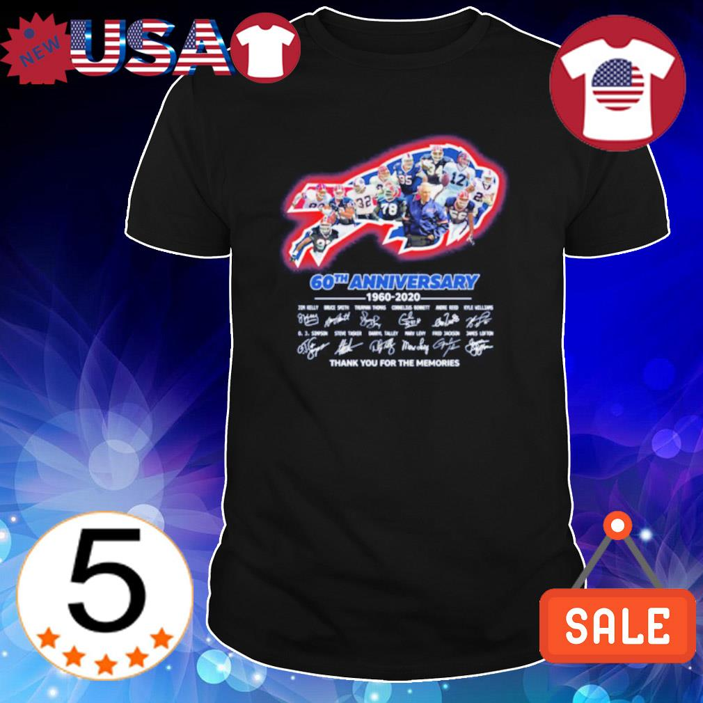 Buffalo Bills 60th Anniversary 1960 2020 players signature thank you for the memories shirt