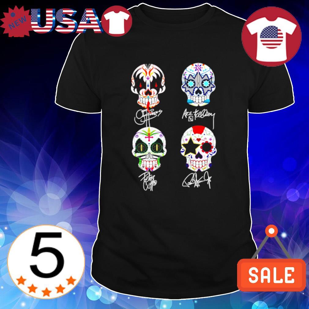 Sugar skull Kiss band signatures shirt