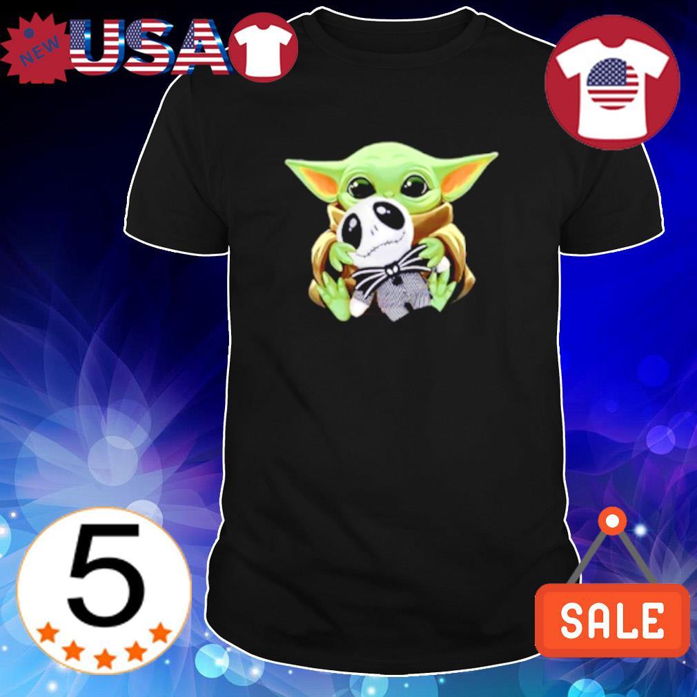 Baby Yoda hug Jack Skellington shirt