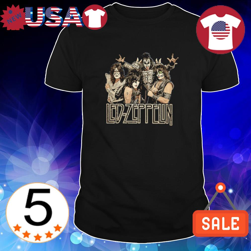 Led Zeppelin Kiss Funny Rock Band vintage worn look shirt