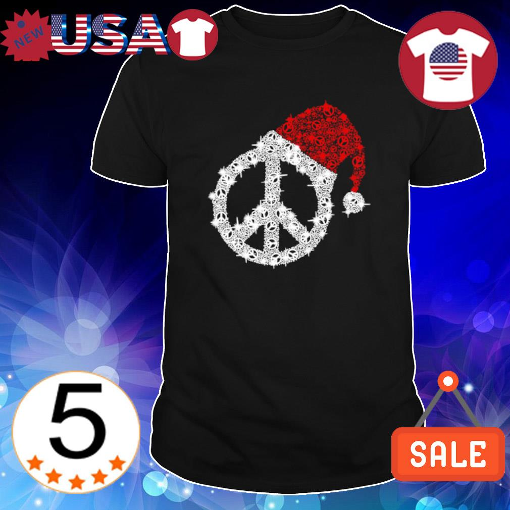 Peace Hippie Santa hat Christmas shirt