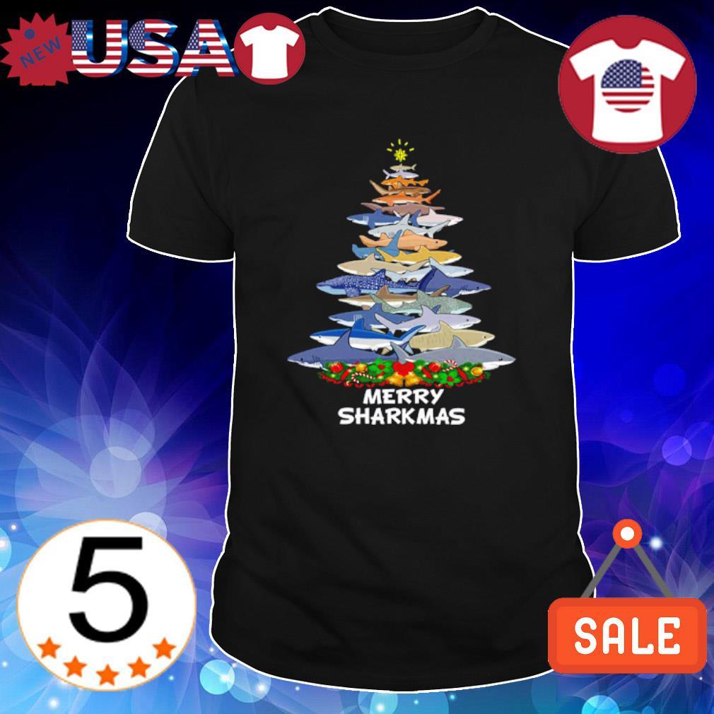 Sharks as Christmas tree merry Sharkmas shirt