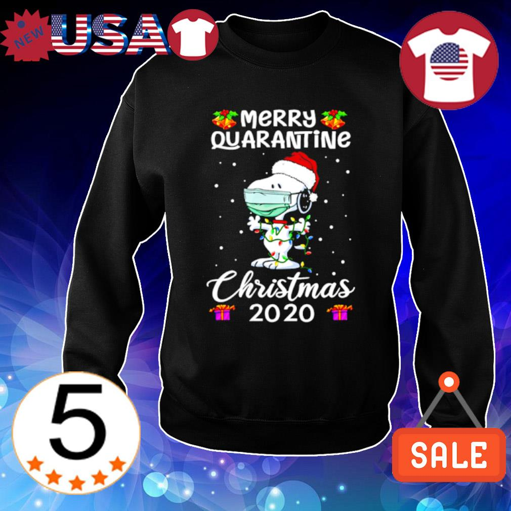 Snoopy face mask merry quarantine Christmas 2020 s Sweater Black