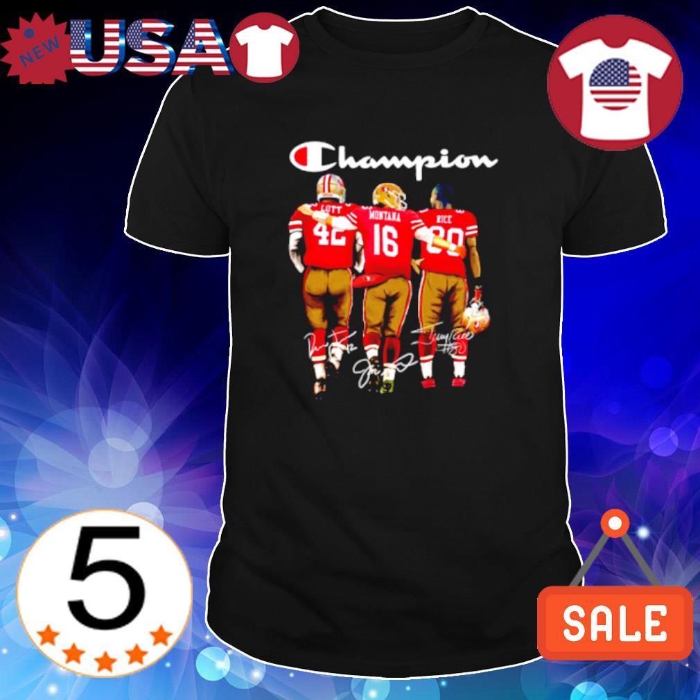 Champion Lott Montana Rice signature 49ers football team shirt
