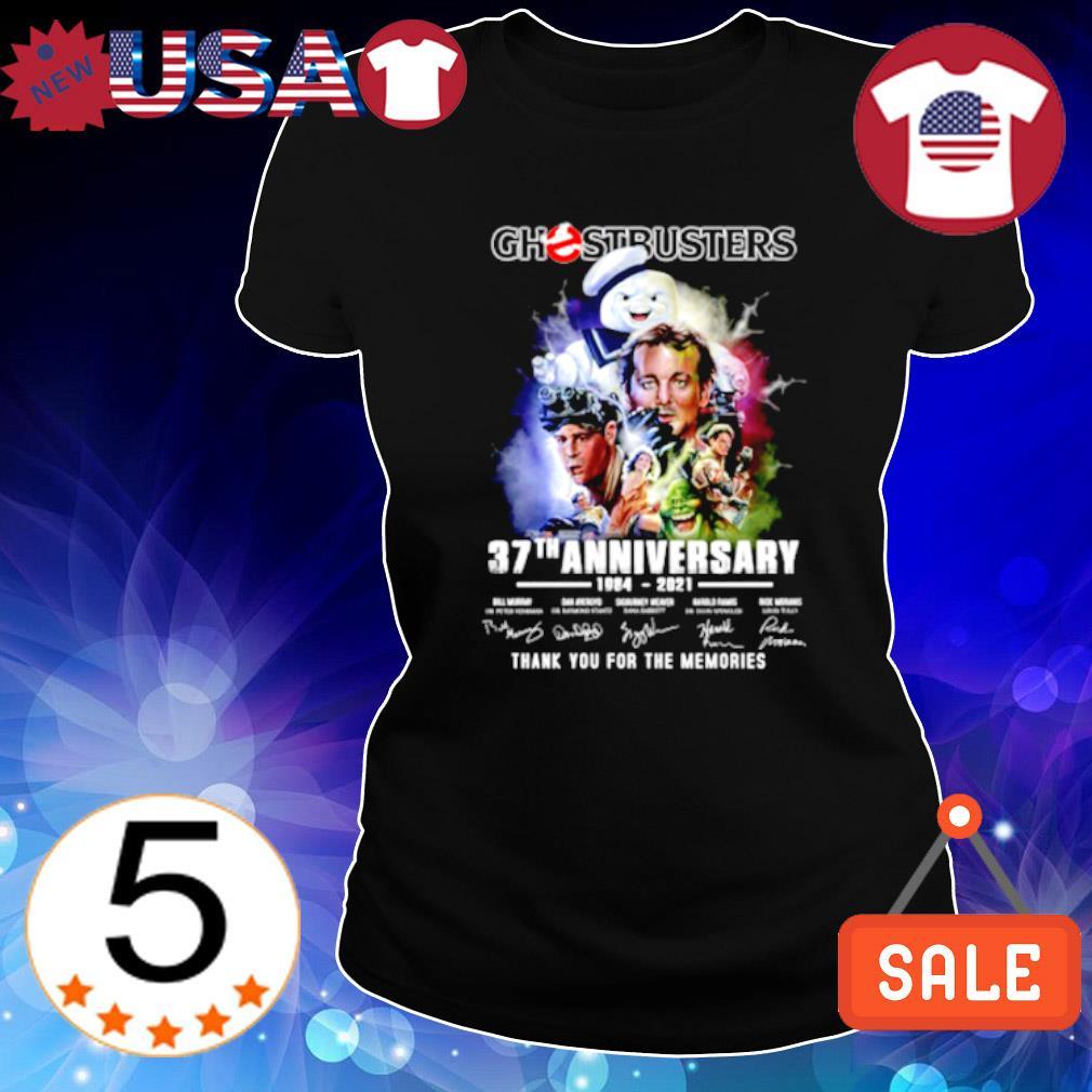 Ghostbusters 37th Anniversary 1984 2021 signature s Ladies Tee-Black