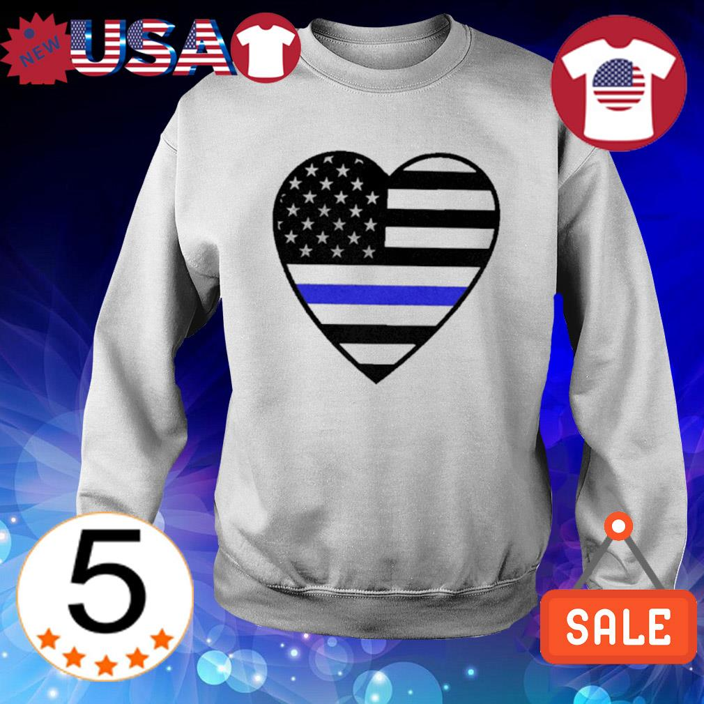 Heart Thin Blue Line s Sweater White