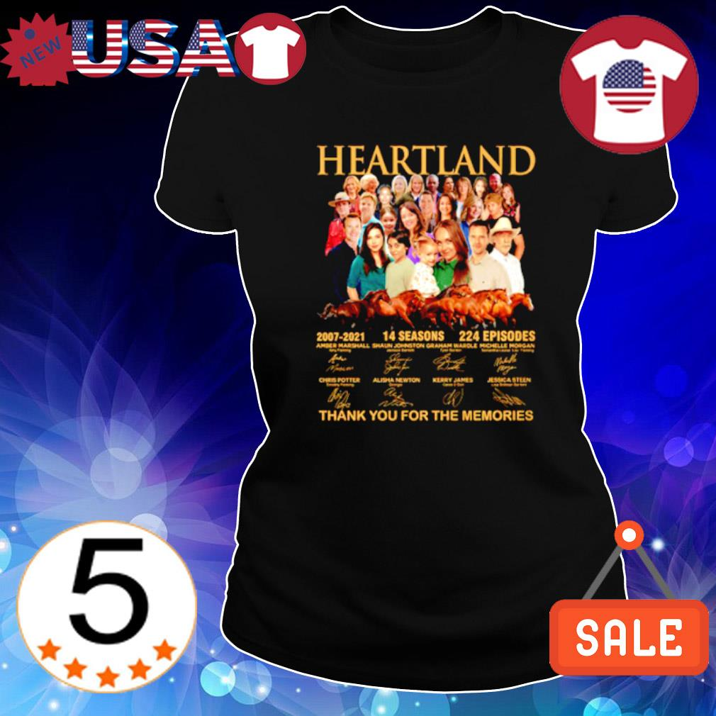 Heartland 2007 2021 14 seasons thank you for the memories characters signature s Ladies Tee-Black