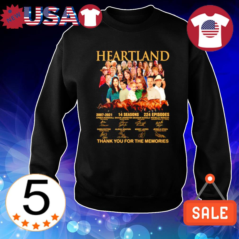 Heartland 2007 2021 14 seasons thank you for the memories characters signature s Sweater Black